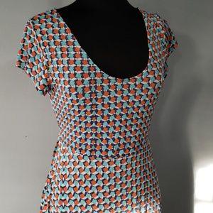 Leota Maternity Orange & Blue Knee Length Dress